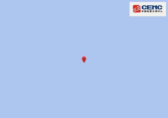 印度洋海岭发生5.7级地震 震源深度10千米
